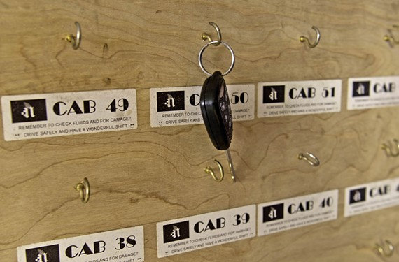 Keys turned in by cabbies don't stay on a rack long at Napoleon, which tries to keep its fleet of 32 cars on the road 24 hours a day, seven days a week.
