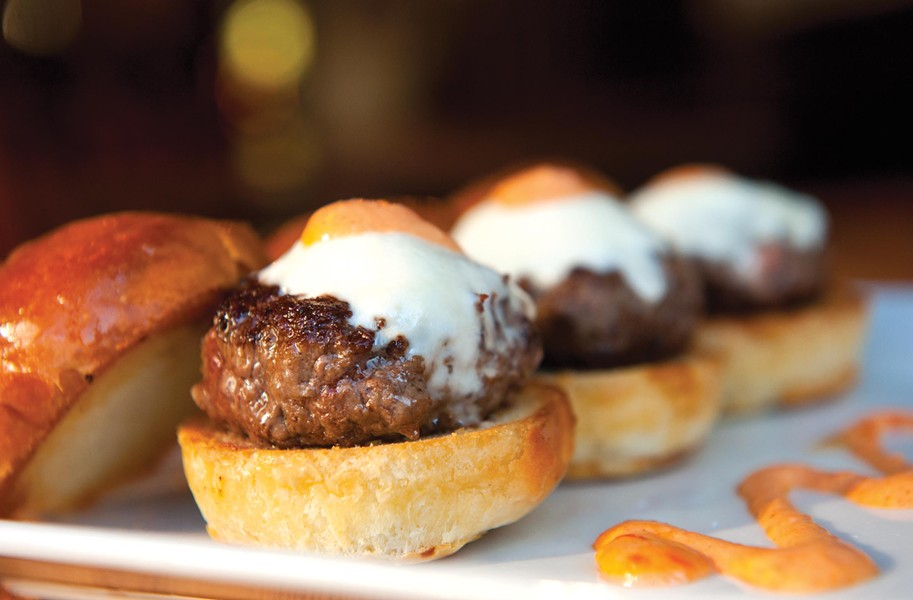 Kobe beef sliders with spicy aioli are bar food highlights at the revamped Metro Grill, a 10-year old Fan District hangout. - SCOTT ELMQUIST