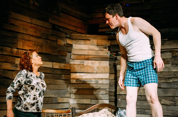 "Landon Nagel plays the guilt ridden Jake and Tamara Johnson is his mother, Lorraine, in Cadence Theatre's unsettling production of Sam Shepard ""A Lie of the Mind"" which originally premiered off-Broadway in 1985."