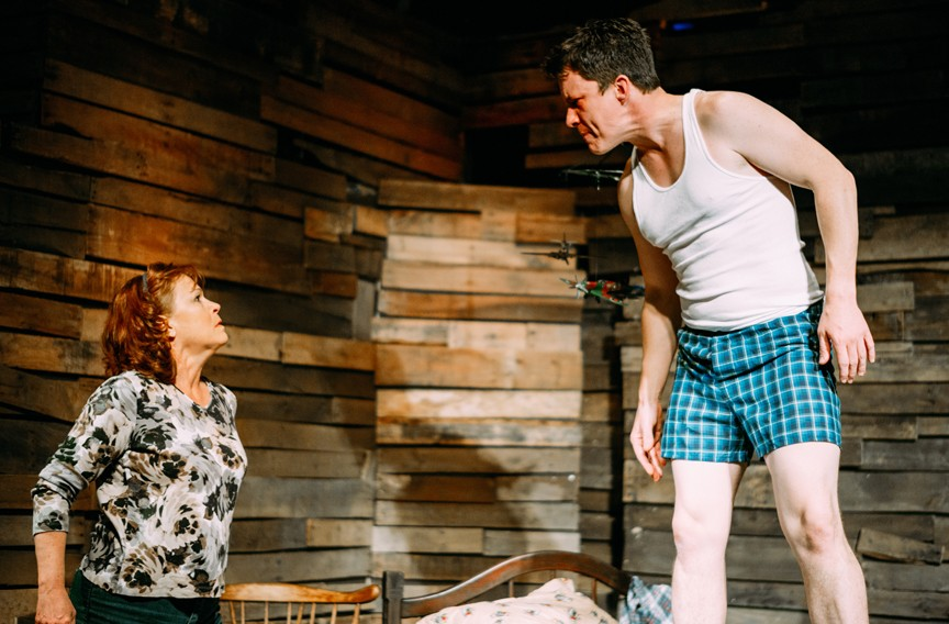 """Landon Nagel plays the guilt ridden Jake and Tamara Johnson is his mother, Lorraine, in Cadence Theatre's unsettling production of Sam Shepard """"A Lie of the Mind"""" which originally premiered off-Broadway in 1985."""