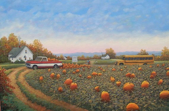 """Landscape painter Eldridge Bagley explores simpler places in Virginia, like the scene depicted here in """"Early Morning at 'Pumpkin Field'"""" (2013, oil on canvas)."""