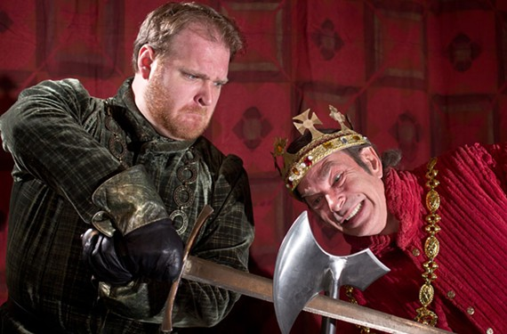 (Left) Michael Thatcher is the Murderer and Virginia Shakespeare Festival Interim Director Rob Ruffin plays the treacherous King Richard in the bloody Shakespeare classic. - STEVEN KOERNING