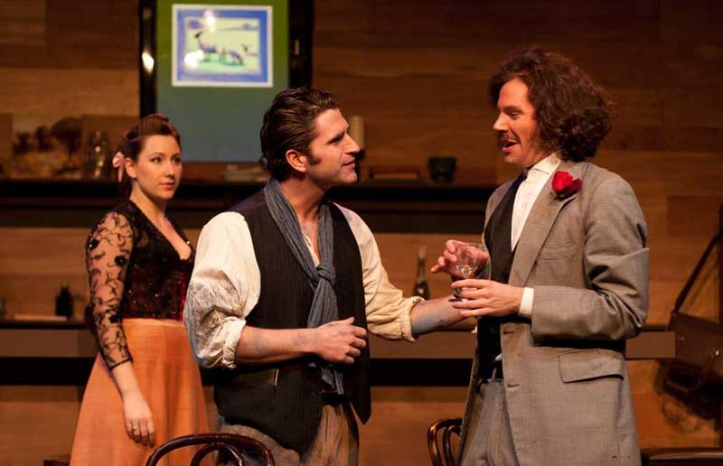 """Let's get large: Suzanne (Irene Kuykendall) watches as a bromance develops between Picasso (Ryan Bechard) and Einstein (Adam Mincks) in """"Picasso at the Lapin Agile,"""" playing now at Sycamore Rouge. - BRITTANY DILIBERTO"""