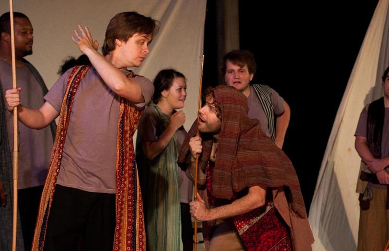 """Let's take a trip: Charles A. Wax (with staff) and Jeff Cole (in shawl) co-star in Sycamore Rouge's uneven take on Homer's """"The Odyssey."""""""