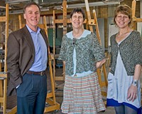 """Life after Jo: President Sam Davis, education director Aimee Joyaux and community outreach director Sally Kemp are making big plans for the """"new"""" Visual Arts Center. Photo by Ash Daniel."""