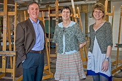 "Life after Jo: President Sam Davis, education director Aimee Joyaux and community outreach director Sally Kemp are making big plans for the ""new"" Visual Arts Center. Photo by Ash Daniel."