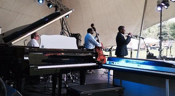 Local jazz musician Victor X. Haskins opened both weekend shows for the fifth annual Richmond Jazzfest at Maymont in impressive fashion.