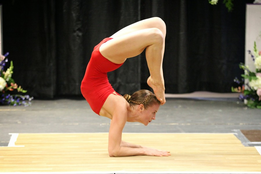 Local yoga instructor, Garland Hume, in a scorpion/tiger pose during the USA Yoga National Competition in New York earlier this month.