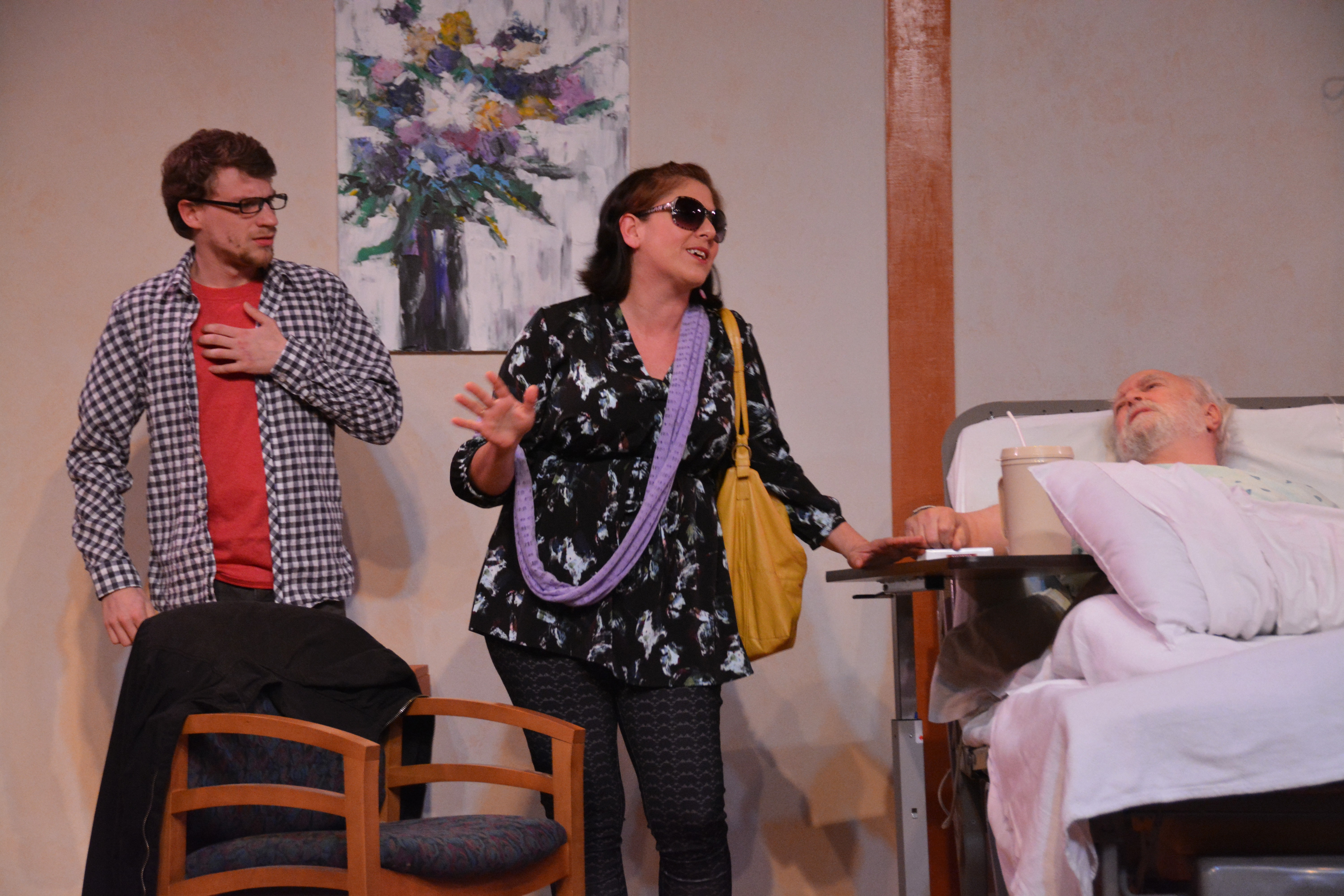 "Lucian Restivo, Sara Heifetz, Alan Sader star in 5th Wall Theatre's black comedy, ""The Lyons."" - ERIC DOBBS"