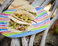 Mango salsa puts the finishing touch on fish tacos from Café Ole Carytown, prime take-out material for a spring picnic.