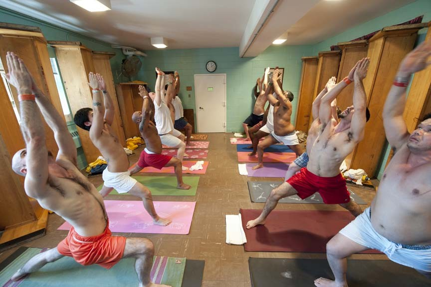 "Many inmates think yoga is just stretching - or ""just for girls,"" one says. That perception changes fast when they take Norris' class. - SCOTT ELMQUIST"