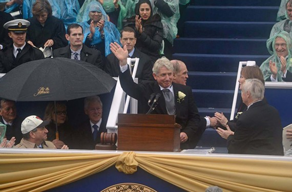 Mark Herring takes the oath of office in early January as attorney general, in front of former Lt. Gov. Bill Bolling, former Secretary of State Hillary Clinton and former President Bill Clinton. Less than two weeks later, Herring announced his decision to not defend Virginia's same-sex marriage ban. - SCOTT ELMQUIST