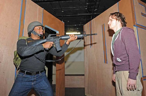 """Matt Hackman and C.J. Sailor star in """"What Strong Fences Make,"""" one of the three one-act plays featured in """"You Don't Know Me."""" - SCOTT ELMQUIST"""