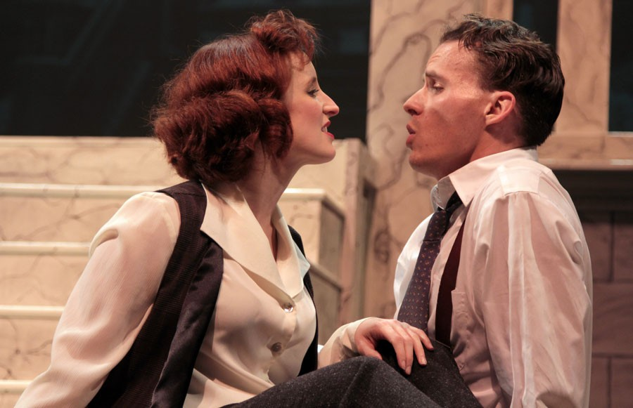 """Matt Hackman as Petruchio and Liz Blake White as Kate in Richmond Shakespeare and Henley Street Theatre's ambitious take on """"Taming of the Shrew"""" set in the world of 1930s show business. - VINNIE GONZALES"""