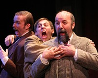 """Matthew Mitchell, Adam Turck and David Clark have enough energy to fill more than 20 roles in Virginia Rep's """"Hound."""""""