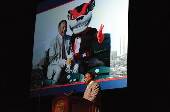 Mayor Dwight C. Jones talks up his plan for a ballpark-centered development in Shockoe Bottom during his State of the City address earlier this year.