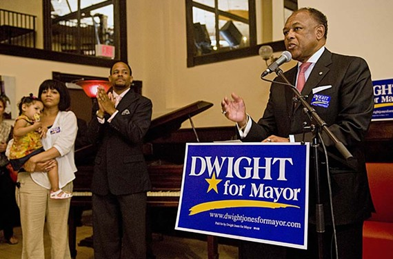 Mayor Dwight Jones addresses supporters after announcing his bid for re-election at the Hippodrome. - ASH DANIEL