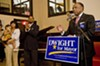 Mayor Dwight Jones addresses supporters after announcing his bid for re-election at the Hippodrome.