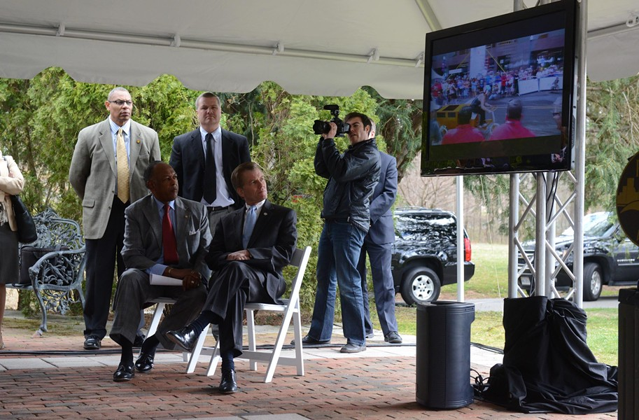 Mayor Dwight Jones and Gov. Bob McDonnell take part in Richmond 2015's fundraising announcement at Lewis Ginter Botanical Gardens on March 28. So far, organizers of the UCI World Cycling Championships have raised $11 million. - SCOTT ELMQUIST