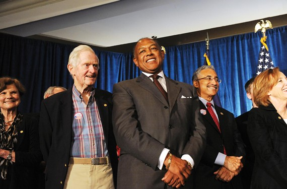 Mayor Dwight Jones, center, with former Gov. Linwood Holton, left, and Rep. Bobby Scott at the Richmond Marriott, soaks in his sweeping election victory. - SCOTT ELMQUIST