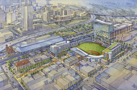 Mayor Dwight Jones' vision for Shockoe Bottom calls for a new neighborhood anchored by a sunken baseball stadium, with a $30 million fundraising campaign for a slave heritage museum and campus.