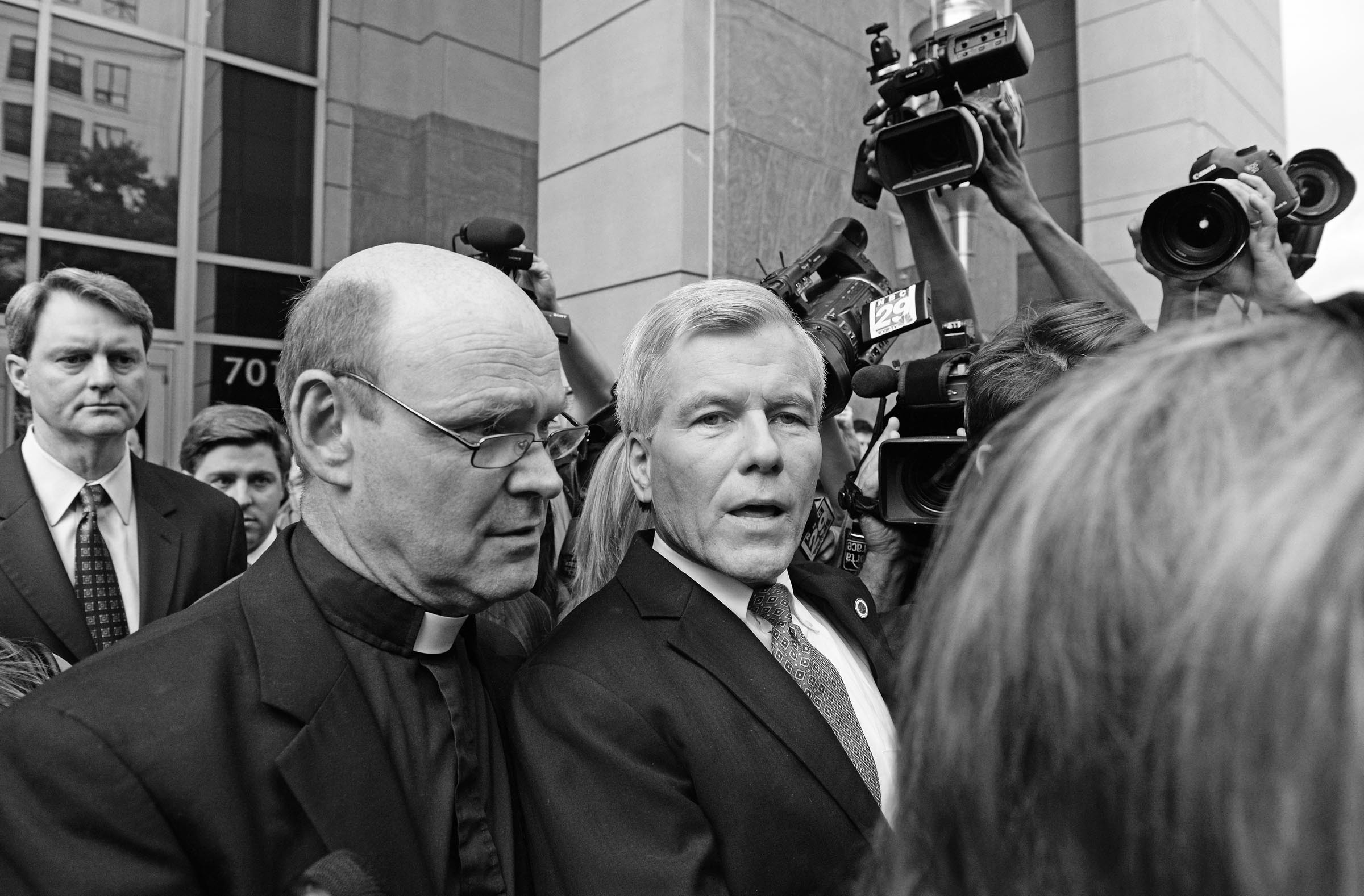 McDonnell appears stunned when he leaves the courthouse after being found guilty on 11 of 14 counts against him. He faces decades in jail, but lawyers who have been watching the case say he's more like to serve between one and three years. - SCOTT ELMQUIST