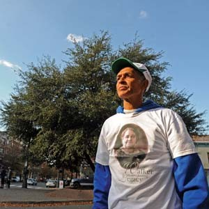 Melvin S. Jones Jr. stands on Broad Street where he'd like to place the Maggie L. Walker statue. Photo by Scott Elmquist.