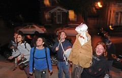 Members of the Wingnut Anarchist Collective and others protest Oct. 14 outside City Councilman Charles Samuels' home on Mulberry Street in the Fan. - SCOTT ELMQUIST