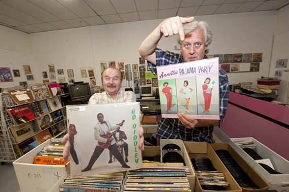 """Memory Lane founder Walter Smith with manager Gene Pembleton. Smith offers tips to neophyte collectors: """"Look for quantity or bulk lots to start. Good suppliers would be yard sales, estate sales and record dealers like ourselves."""" - SCOTT ELMQUIST"""