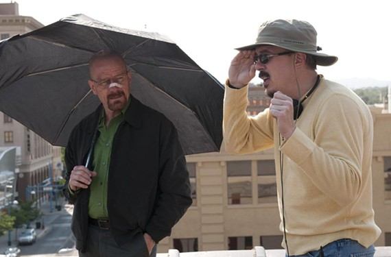 """Meth is a hell of a drug. Bryan Cranston, who plays unlikely criminal Walter White, on set with """"Breaking Bad"""" creator Vince Gilligan."""