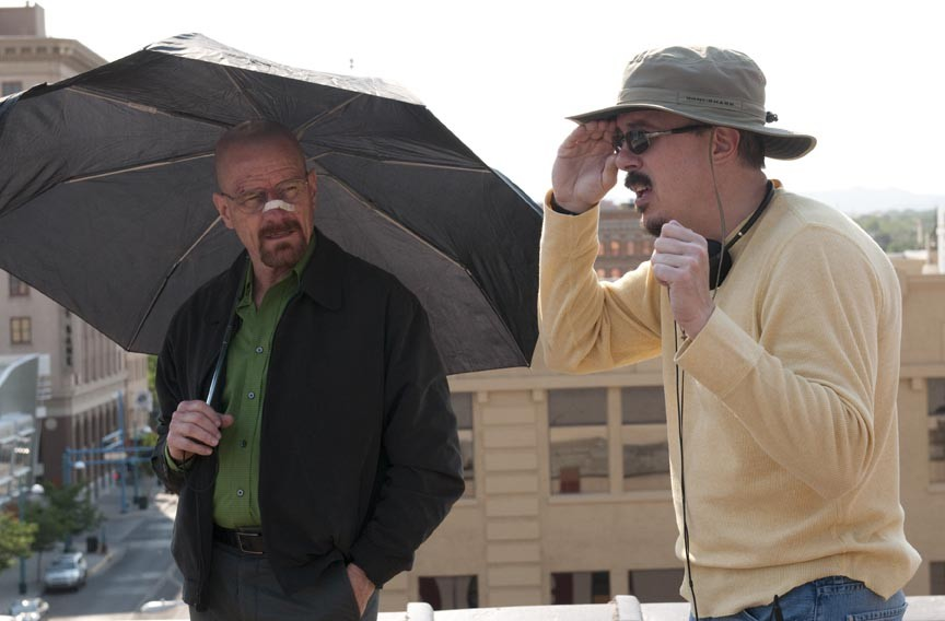 "Meth is a hell of a drug. Bryan Cranston, who plays unlikely criminal Walter White, on set with ""Breaking Bad"" creator Vince Gilligan."