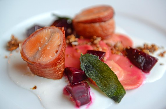 Metzger Bar & Butchery shines with such German dishes as this arctic char wrapped in speck, served with winter squash maultaschen, seeded granola, beets and smoked buttermilk, bringing to Richmond a cuisine that was missing.