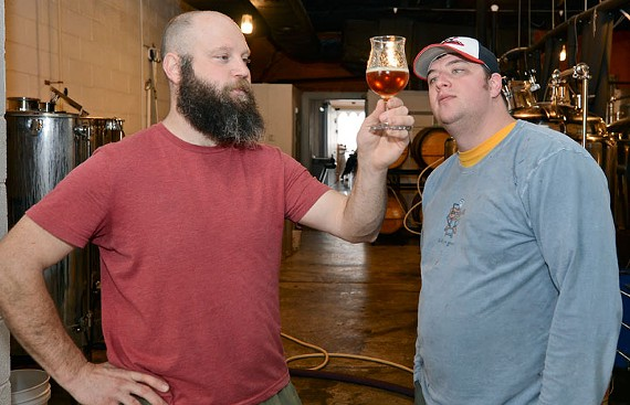 Mike Brandt and Ryan Mitchell offer a variety of styles to choose from at Garden Grove Brewery. - ASH DANIEL