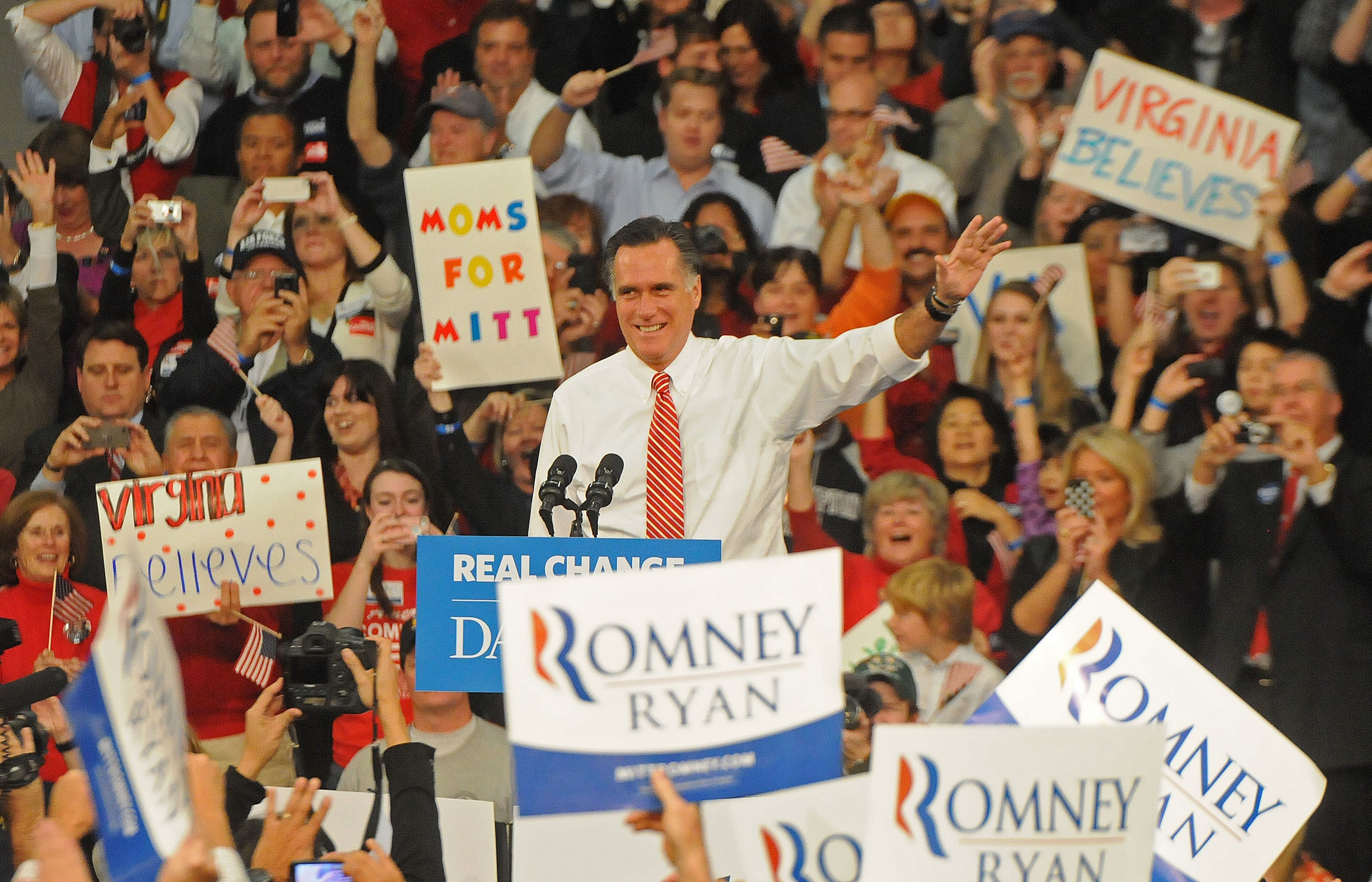 Mitt Romney roasts Obama for his barbecue-killing policies, and rallies the troops, in Caroline County Thursday afternoon. - BY SCOTT ELMQUIST
