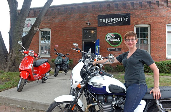 Motor running: Scoot Richmond owner Chelsea Lahmers says she's re-launching her business as a Triumph motorcycle dealership.