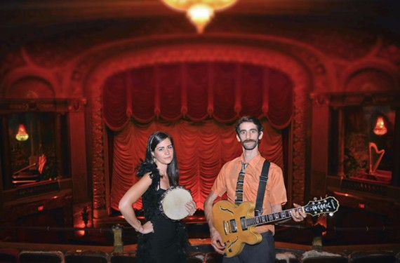 Musicians Christina Marie Gleixner and Evrim Dogu, familiar to customers of the acclaimed Sub Rosa Bakery, stand in the balcony of the Byrd Theatre.