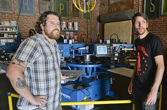 Musicians Jonathan Vassar and Wil Loyal offer more environmentally sound water-based screen printing at their Triple Stamp Press in Manchester.