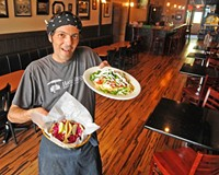 Nate Gutierrez shows the fish tacos with lime cabbage slaw and the green chile chicken enchiladas that have earned him a cult following.