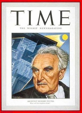 Neutra, the Austrian-born modernist architect, is featured on the cover of Time in August 1949.
