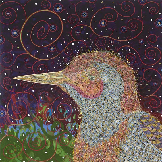 """New York artist Fred Tomaselli's """"Woodpecker"""" painting is just one of the works that outgoing modern art curator John Ravenal acquired during his tenure at VMFA, during which time he helped increase a level of comfort with contemporary art at the historically staid museum."""