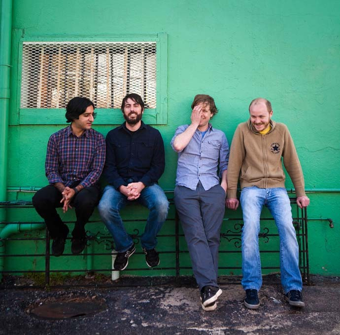 No language in our lungs: The all-instrumental Explosions in the Sky are, from left, Munaf Rayani, Mark Smith, Chris Hrasky and Michael James. - NICK SIMONITE