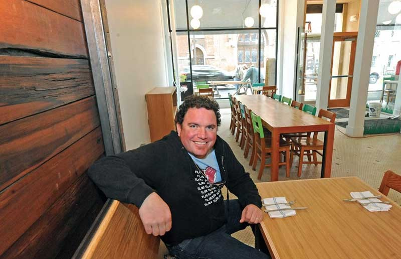 "No wonder Jason Alley is smiling; he's finished the ""world's longest punch list"" and is ready to open Pasture, his new downtown restaurant, within the week. - SCOTT ELMQUIST"