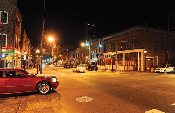 On Friday and Saturday nights, Shockoe Bottom becomes a bustling entertainment district that some say conflicts with the area's growing residential appeal. - SCOTT ELMQUIST