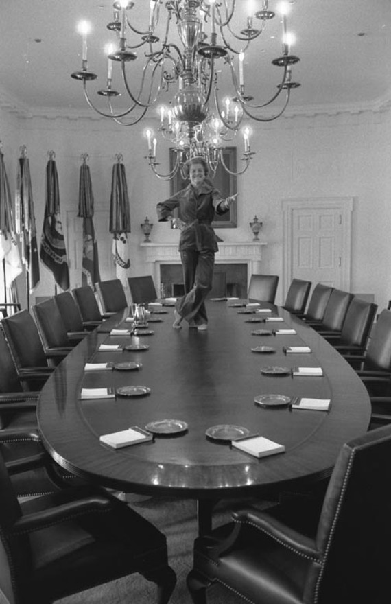 "On her last full day as first lady, Betty Ford poked her head into the Cabinet Room and said, ""I've always wanted to dance on the cabinet table."" Photographer Dave Hume Kennerly later told The New York Times: ""As quickly as she had gone up, she came down, put on her shoes, brushed her hands together and said, 'I think that about does it.'"""
