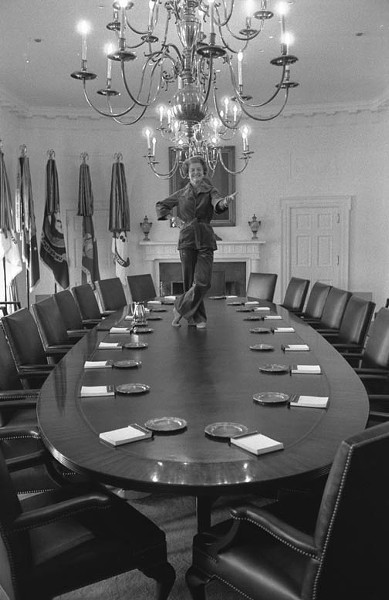 """On her last full day as first lady, Betty Ford poked her head into the Cabinet Room and said, """"I've always wanted to dance on the cabinet table."""" Photographer Dave Hume Kennerly later told The New York Times: """"As quickly as she had gone up, she came down, put on her shoes, brushed her hands together and said, 'I think that about does it.'"""""""