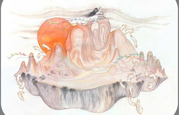"""On the Threshold of a Dream."" Jenny Kindler's ethereal creations, like ""Climate Change (Volcano Rabbits)"" (below), explore the complex relationship between humans and the natural world."