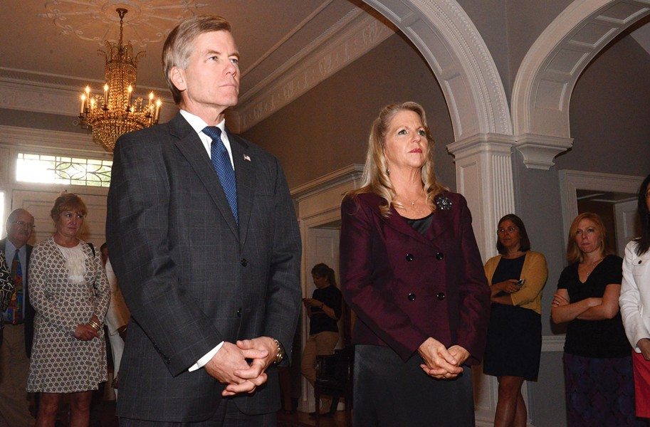 On watch: Gov. Bob McDonnell and his wife, Maureen, get away from the headlines during a launch of wine marking the Executive Mansion's 200th year. - SCOTT ELMQUIST
