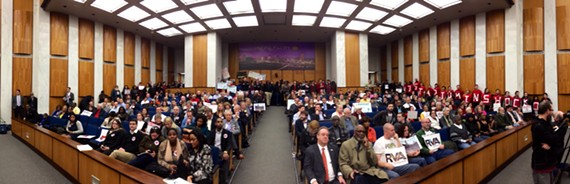 Opponents and proponents of the Shockoe Bottom stadium proposal packed City Council's chambers Monday night.