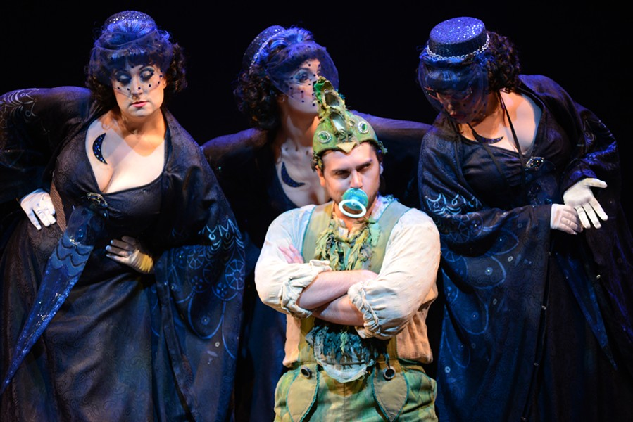 "Papageno (David Pershall) and The Three Ladies shown in Virginia Opera's ""The Magic Flute,"" which will be performed at Richmond Centerstage's Carpenter Theatre this weekend. - DAVID BELOFF"