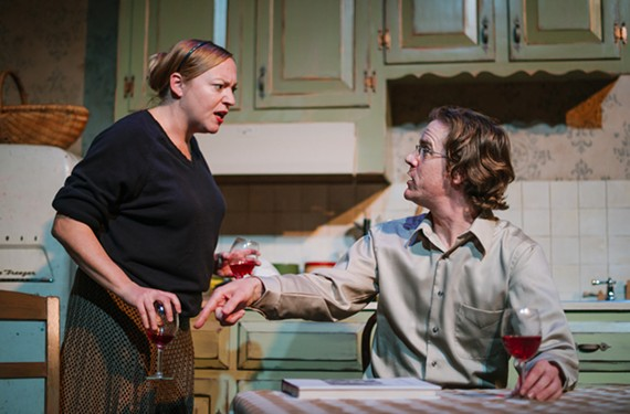 """Patricia (Laine Saterfield) and Waxman (Neil Brookshire) anchor the nuanced and intense Donald Margulies play """"Sight Unseen,"""" running through Nov. 8 at Virginia Rep. The play also features songs by Simon and Garfunkel."""